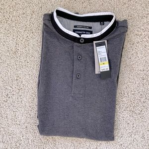 Kenneth Cole 3 Button Gray Polo Shirt sz M NEW